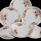 VINTAGE COPELAND SPODE ENGLAND FAIRY DELL LOT OF 6 PLATES SAUCERS FLORAL SWIRL