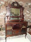 Antique Early 1900's Victorian Mahogany Sideboard Curio Cabinet Server Wine Bar