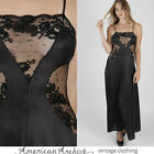 Vintage 70s Lace Nightgown Sheer Floral Peignoir Gown Negligee Goth Bridal S