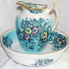ANTIQUE THORNBURRY ENGLAND LARGE VICTORIAN WASH BASIN PITCHER BLUE FLORAL GOLD