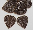 WHOLESALE LOT 100 Antique Brass Filigree Heart Feather Leaf Charms Dangle Drops