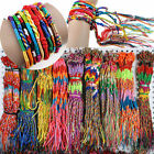Lots Of 10 50Pcs String Lucky Colorful Friendship Braid Strand Handmade Bracelet