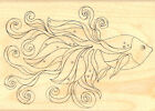 Fancy Gold Fish Goldfish Wood Mounted Rubber Stamp Impression Obsession F2328