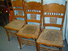 3 Matching Oak Pressed Back Chairs - Early 1900's -