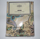 Raymond Waites New York FLORAL PAISLEY Tablecloth 70 in round  NIP