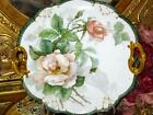 ANTIQUE HANDPAINTED PEACH ROSES LIMOGES FRANCE DOUBLE HANDLE CAKE PLATE c.1890's