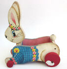 Vintage 1961 Fisher Price BOUNCING BUNNY CART Easter Basket rabbit Pull Toy #307