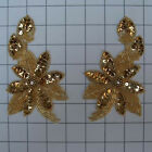SEQUIN BEADED FLOWER PAIR APPLIQUES 2465 E