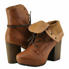 Women's Shoe Qupid Sotto 01 Almond Toe Lace Up High Heel Boot Camel *New*