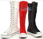 Hot PUNK Women Canvas Boots Sneaker Girls Shoes Knee High Lace UP Boots