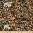 Real Tree Hunting Dogs in Trees allover Pheasant  By The yard cotton print