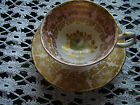 GROSVENOR BONE CHINA TEA CUP AND SAUCER  HANDPAINTED GREY ROSE GILT LEAVES