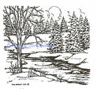 Small Tree  Stream Winter Spruce Wood Mounted Rubber Stamp NORTHWOODS CC9354