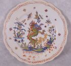 Antique Hand Painted French Rouen Faience Dragon Decor Plate Polychrome 9.5