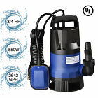 3 4 HP 2640GPH 550W Submersible Water Pump Swimming Pool Dirty Flood Clean Pond