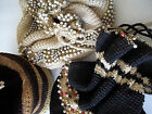 Vintage 1940's BAGS Cinch Tops set / 3 Crochet beads drawstrings