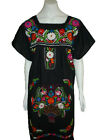 Black Boho Vintage Style Hand Embroidered Tunic Mexican Dress Hippie Puebla