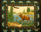 Wildlife Fabric Panel  Moose/Eagle Wildlife Material Quilt Wall Hanging One Yard