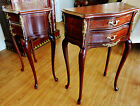 A Pair of French Louis Style, Inlaid, Side Table, Nightstand, Chest of 2 Drawers