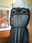Vtg 18W 20W Sweeping Black Lace Nylon Sheer Peignoir Sexy Nightgown Negligee