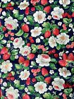Concord Fabric  Joan Kessler Blue Strawberries Sewing Quilting 4 yds Floral