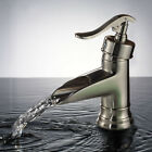 Waterfall Spout Bathroom Basin Faucet Vessle Sink Mixer Tap Brushed Nickel