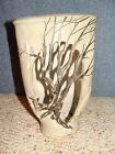 Art Pottery Vase Dead Winter Spooky Tree Cut Outs Signed by Artist 1997