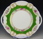 LIMOGES FRANCE HAND PAINTED ROSES RAISED GOLD JEWELS CAKE PLATE CHARGER