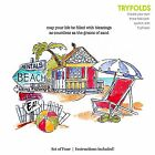 Beach Wishes TRYFOLDS Cling Unmounted Rubber Stamp Set ART IMPRESSIONS NEW 4577