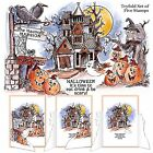 Halloween House TRYFOLDS Unmounted Rubber Stamp Set ART IMPRESSIONS NEW 4688
