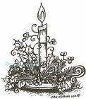 Christmas Holiday Candle And Holly Wood Mounted Rubber Stamp NORTHWOODS F8768