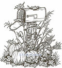 Harvest Mailbox Scene Thanksgiving Wood Mounted Rubber Stamp NORTHWOODS P759 New