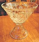 Anchor Hocking Glass Early American Prescut Clear Punch Bowl and Stand EAPC