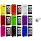 Color Hard Snap On Rubberized Case Cover+Dual Charger for HTC Sprint EVO 4G