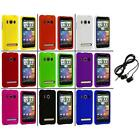 Color Hard Snap On Rubberized Case Cover+Headphones for HTC Sprint EVO 4G
