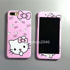 Cartoon cute pink hello kitty Polka Dot bow case cover for iphone 7 6 6S plus 5S