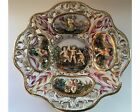 Small Vintage Hand Painted Capodimonte Wall Hanging Bowl or Plate