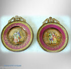 Pair of Czechoslovakian vintage porcelain art plates - gold gilt metal frames.