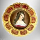 Royal Vienna vintage art plate with woman portrait and gold designs - FREE SHIP