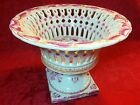 Stunning Asian Chinese Porcelain Footed Compote Vase Pink Floral Rose PRC 10