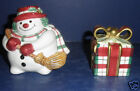 Fitz and Floyd Plaid Christmas Snowman Shakers- New in Box -2063/127