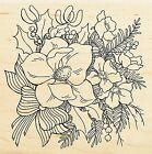 Christmas Magnolia Rose Wood Mounted Rubber Stamp Stampendous Stamp W149 NEW