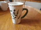 Oneida Oliveto Latte Mug, Stoneware, Beige with Green Handle