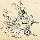 Hare In A Hurry With Clocks Wood Mounted Rubber Stamp STAMPENDOUS NEW W170