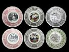 Vintage GIEN France French Transferware Comic Motto Plates Multi-Color 7-3/4