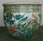 Antique Large 18in Chinese Porcelain Planter Fish Bowl Famille Rose Birds