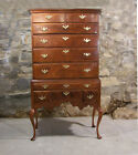 Early American Queen Anne tiger maple highboy New England c1760