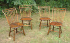 Set 4 Original Antique American Rod Back Country  Windsor Chairs New England
