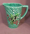 VINTAGE GREEN MAJOLICA LILY OF THE VALLEY SCHRAMBERG GERMANY PITCHER