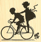 Bike Silhouette Wood Mounted Rubber Stamp Impression Obsession Alesa Baker NEW